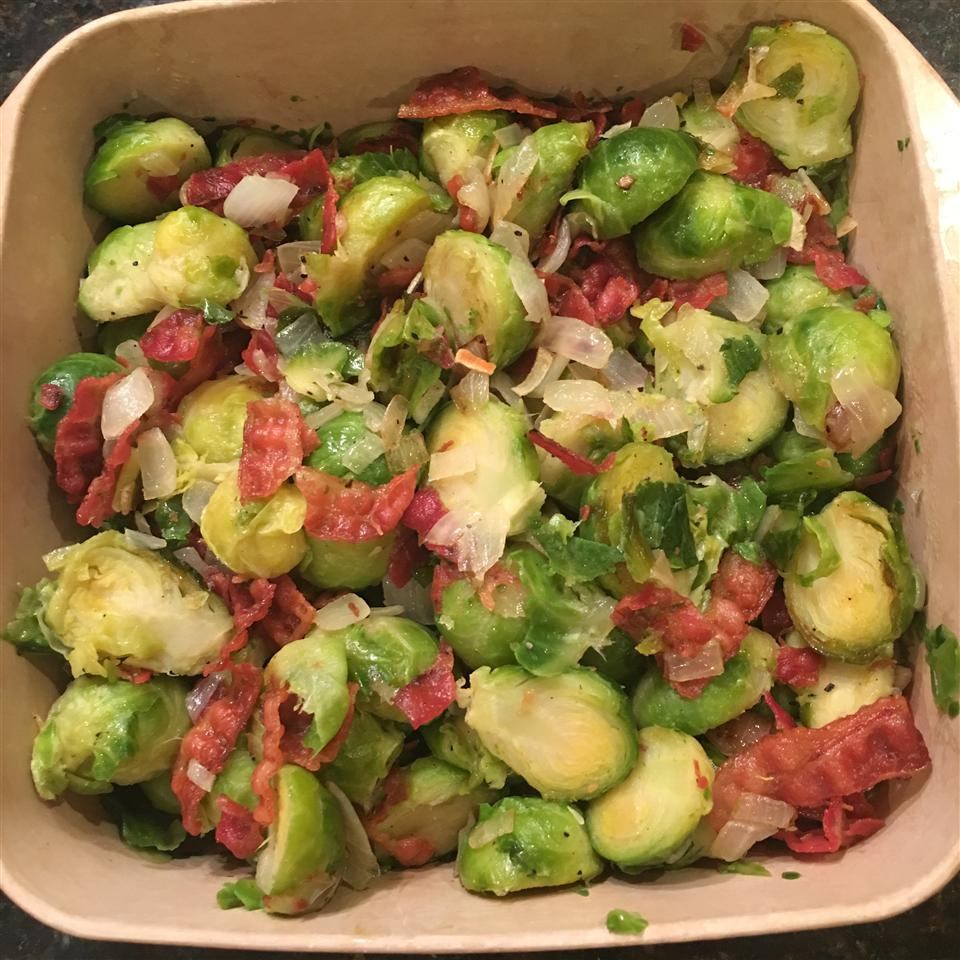 Sauteed Brussels Sprouts with Bacon and Onions Joanne