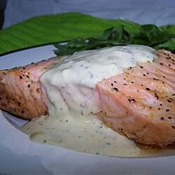 grilled salmon fillets with a lemon tarragon and garlic sauce