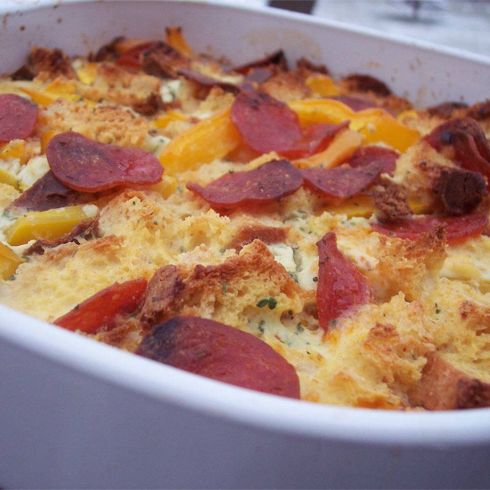 Bacon, Egg, and Cheese Strata pomplemousse