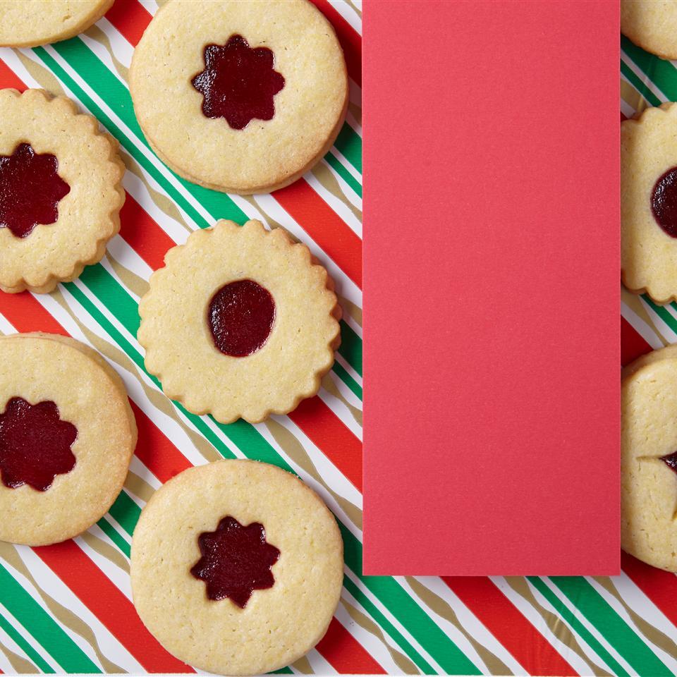 Cranberry Cornmeal Linzer Cookies