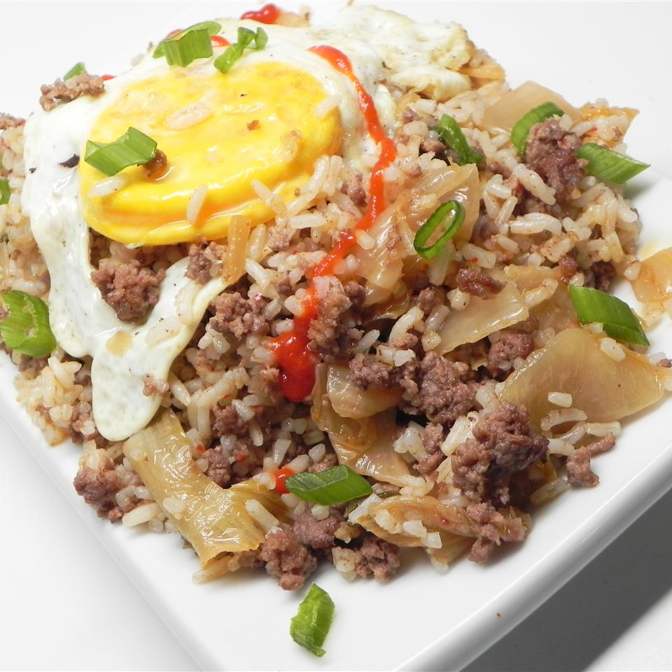 "So simple! ""This is a great way to use kimchi, simply fried with minced beef and rice,"" says Ann Lee. You'll top it off with fried eggs. Dinner's ready in about 30 minutes."