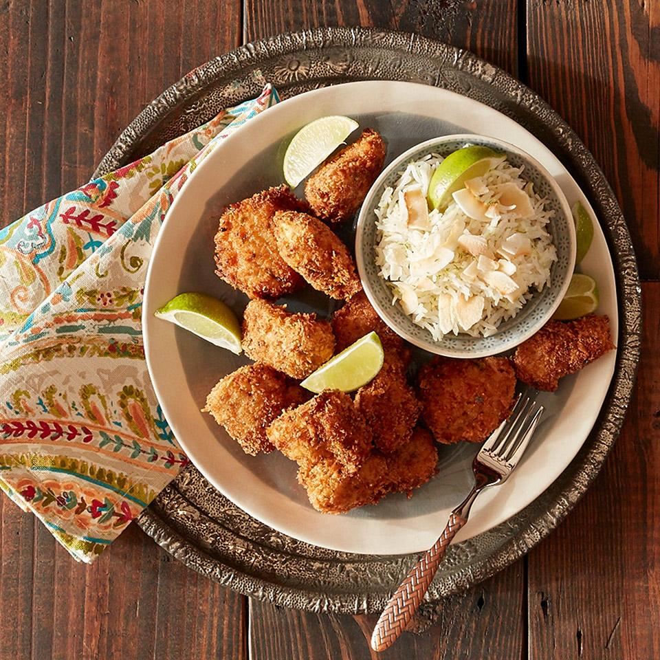 Jerk Chicken Nuggets with Lime Coconut Rice