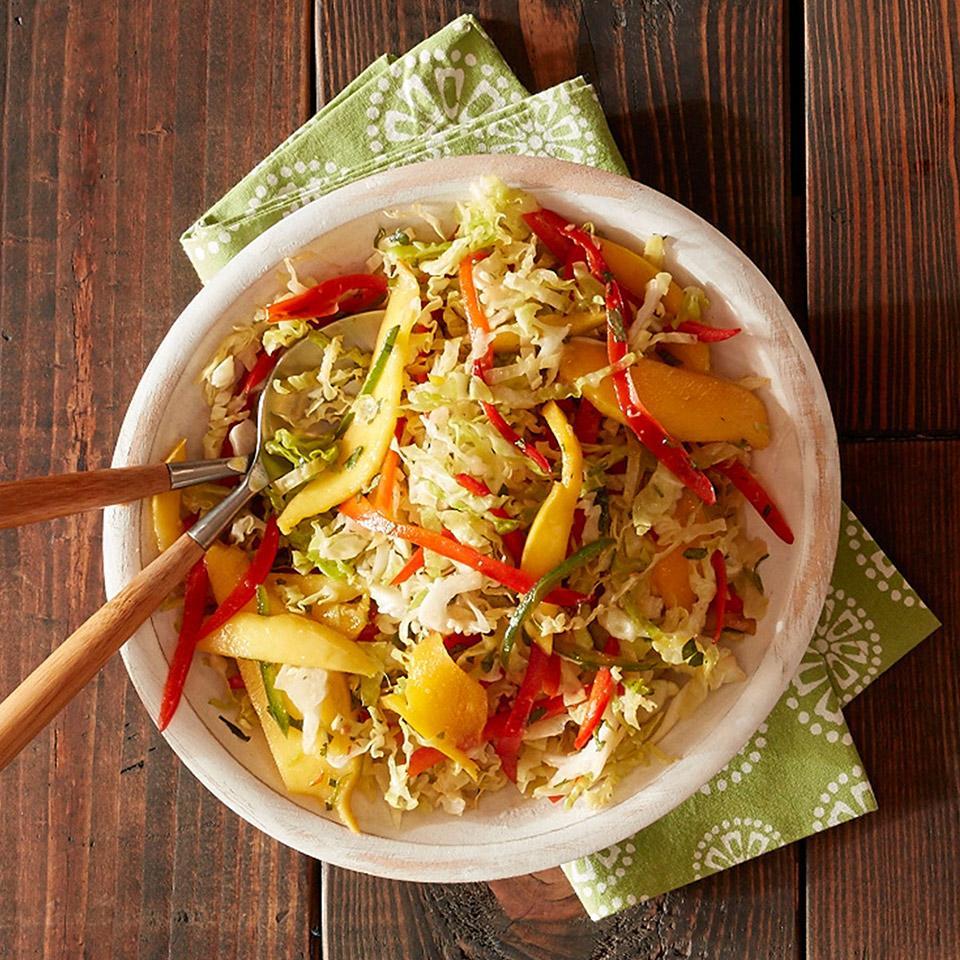 Mango Slaw with Roasted Garlic Lime Dressing