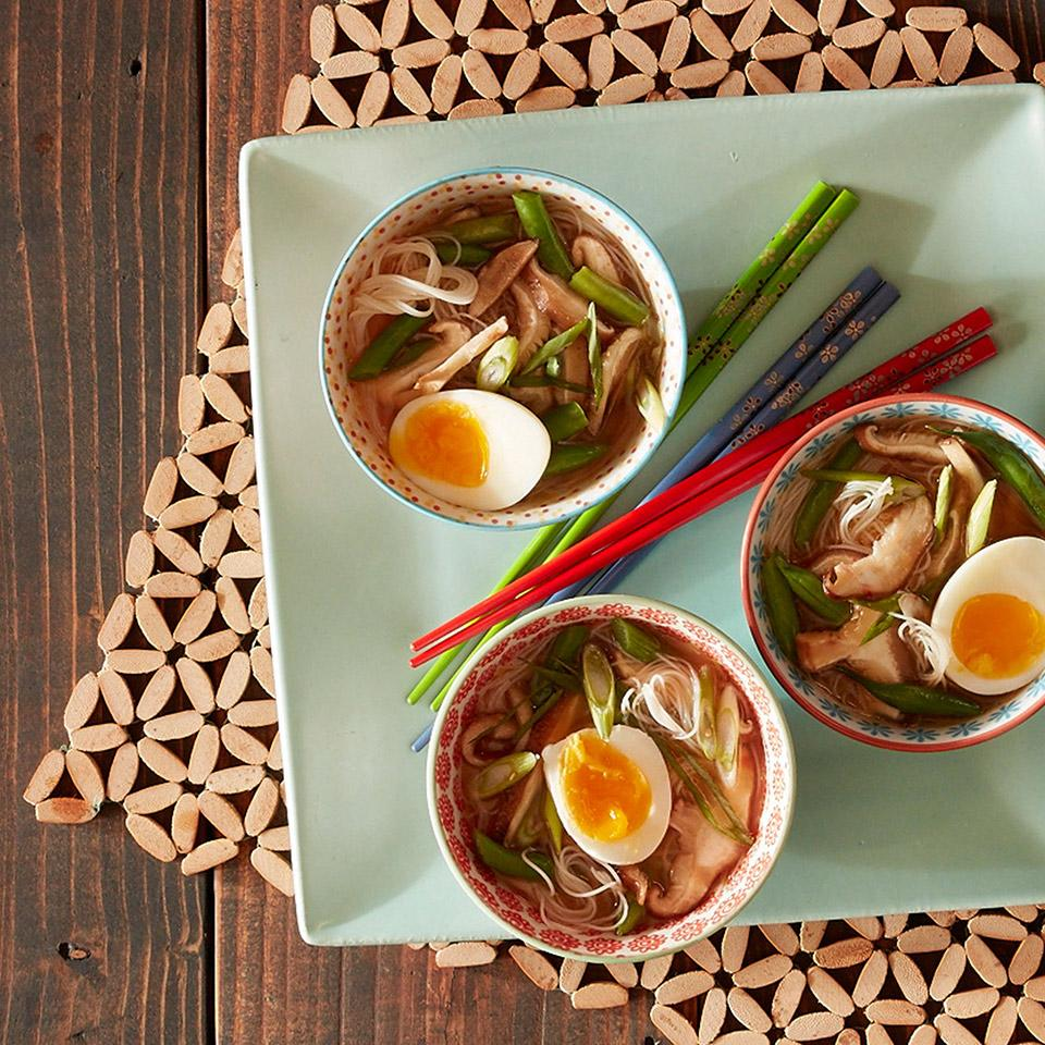 Spicy Miso Soup with Roasted Shiitake Mushrooms and Green Beans