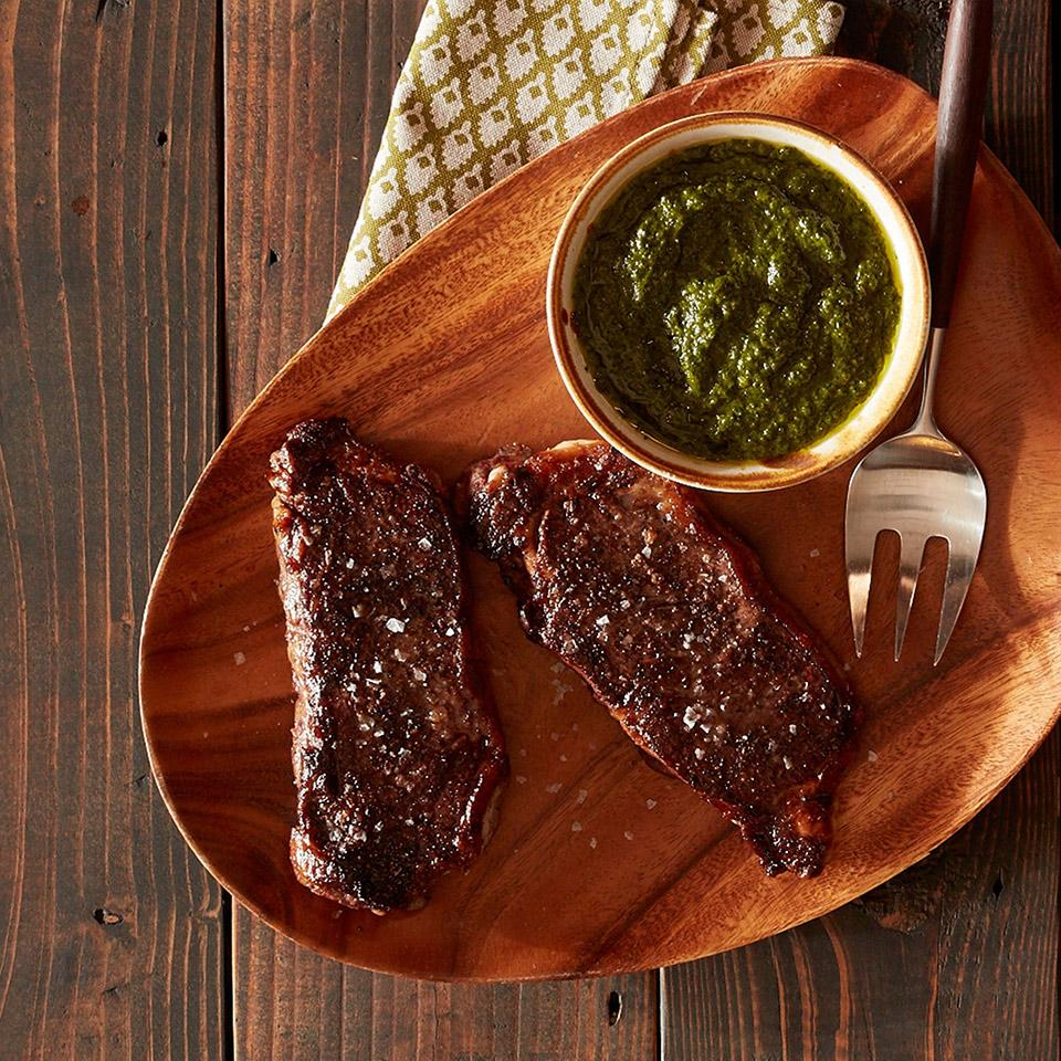Roasted New York Strip Steak with Chimichurri Sauce Reynolds Kitchens(R)