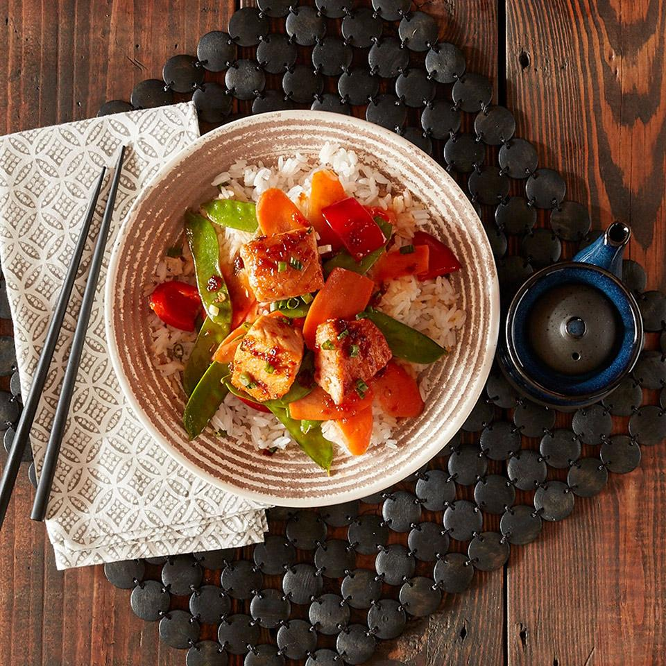 Spicy Salmon and Vegetable Bowl