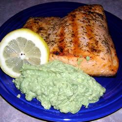 Grilled Salmon with Avocado Dip Emily