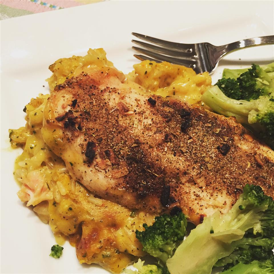 Creamy Chicken Rice and Veggie Bake