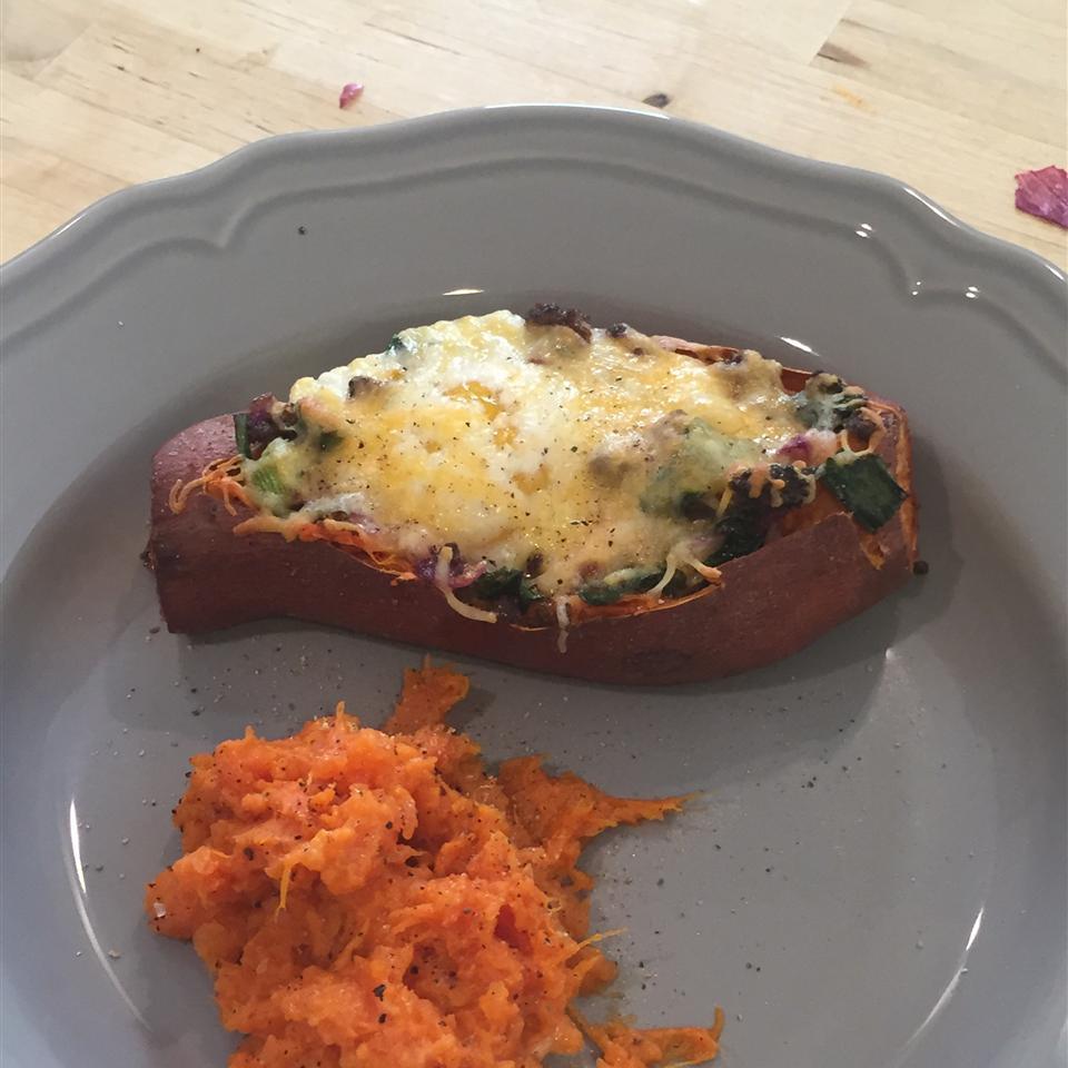 Cheesy Chorizo and Egg Sweet Potato Boats fude dude