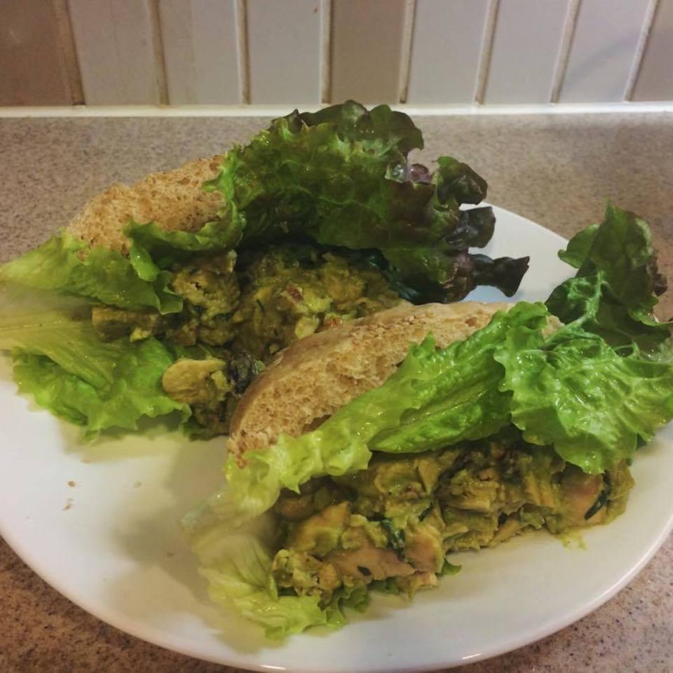 Basil-Avocado Chicken Salad Wraps