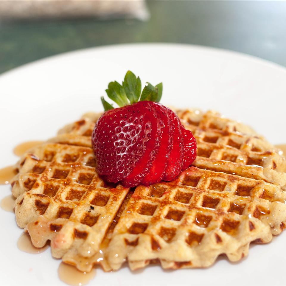 """Rolled oats and cottage cheese are the secrets to here. """"These healthy, protein-packed waffles are fluffy and delicious!"""" says JAIM71. """"No waffle iron? No problem! Make them into pancakes instead. Top with berries, bananas, dark chocolate chips, or anything else you like!"""""""