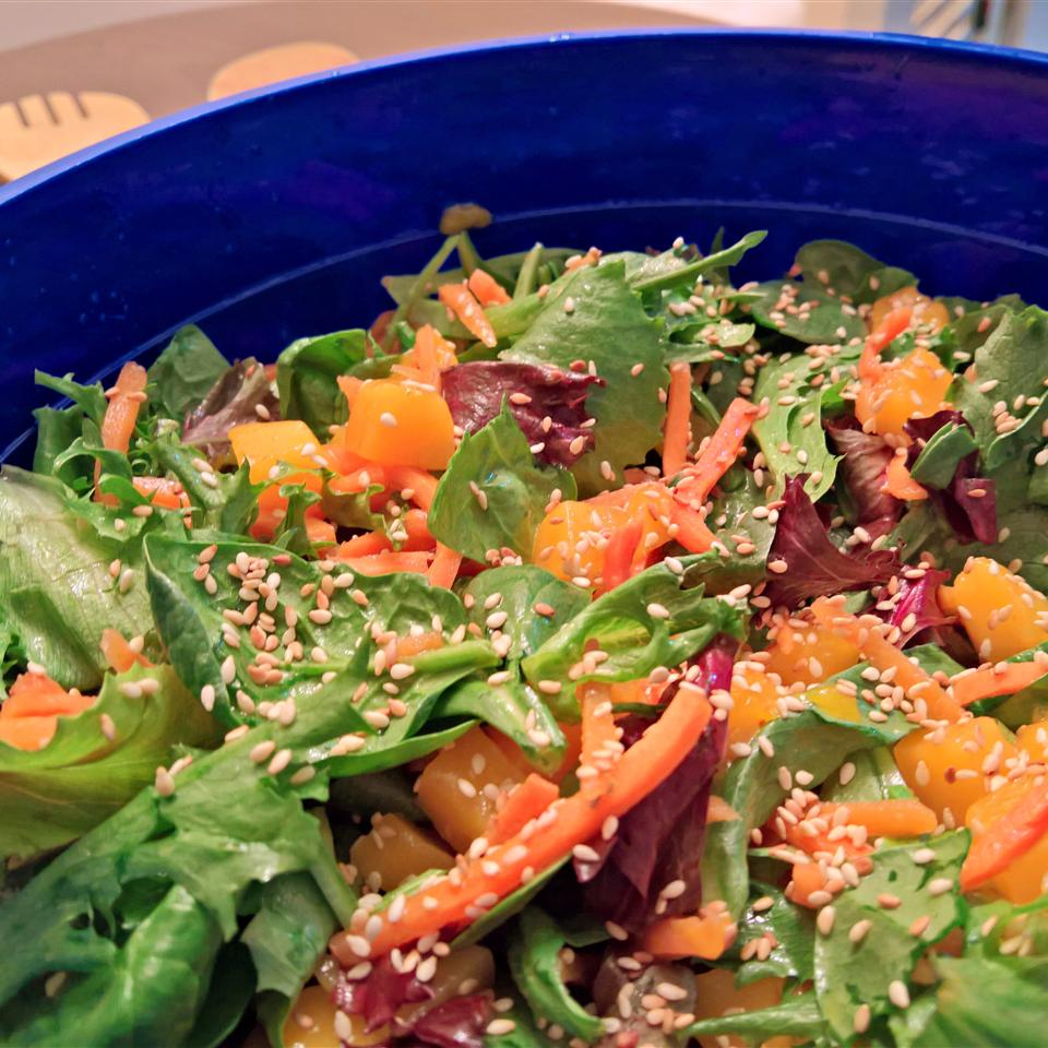 Mesclun and Mango Salad with Ginger Carrot Dressing ANT