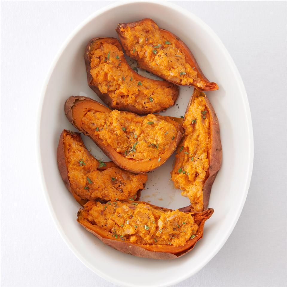 Twice Baked Sweet Potatoes with Ricotta Cheese Allrecipes Magazine