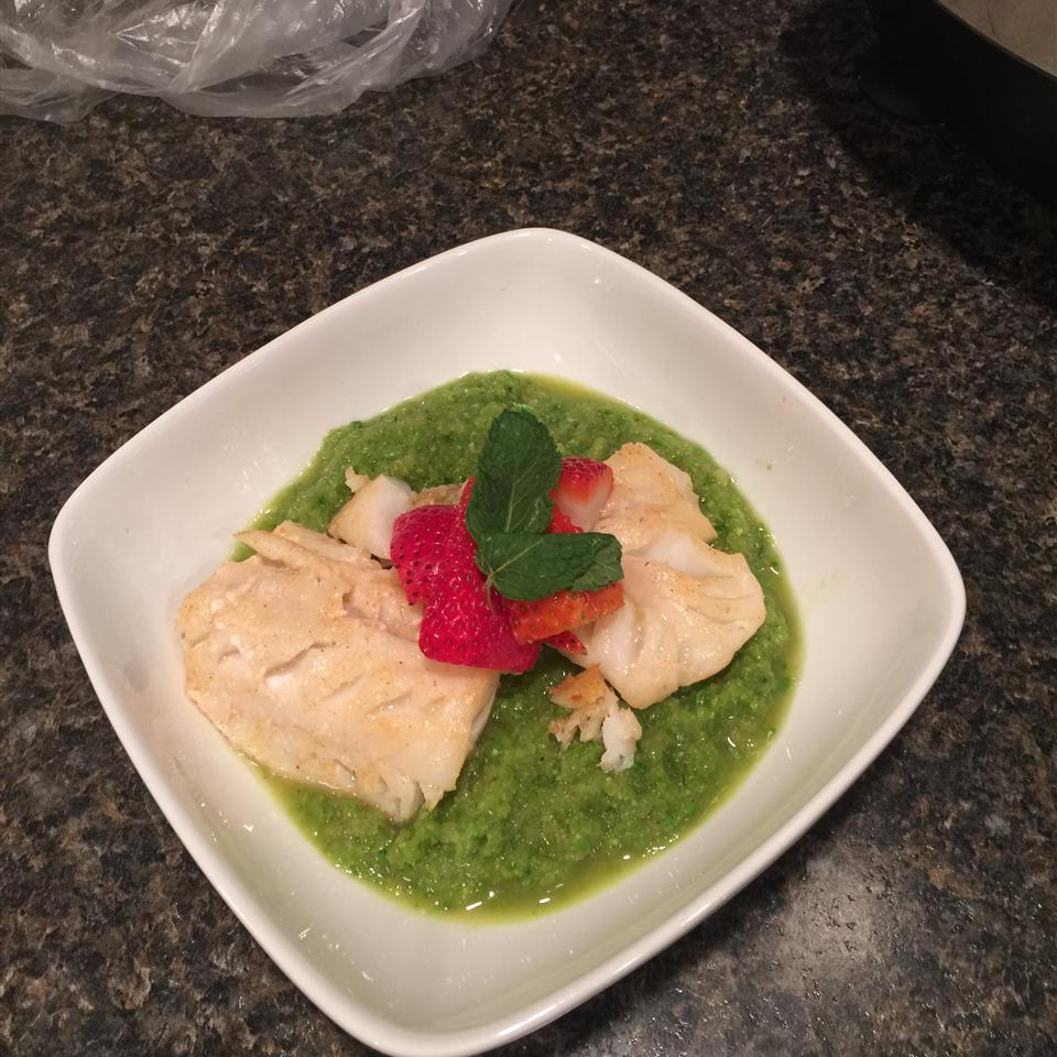 Spring Pea Green Curry with Black Cod and Strawberry