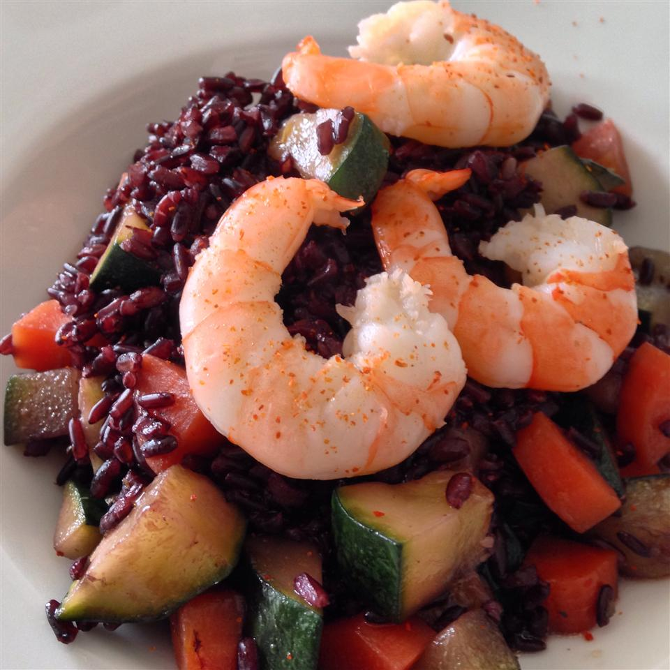 """Black rice combines with minced shallots, cubed zucchini, and shrimp in a simple olive oil and white wine sauce. """"Very, very good,"""" says Buckwheat Queen. My rice took a bit longer, but the method is easy enough to follow."""""""