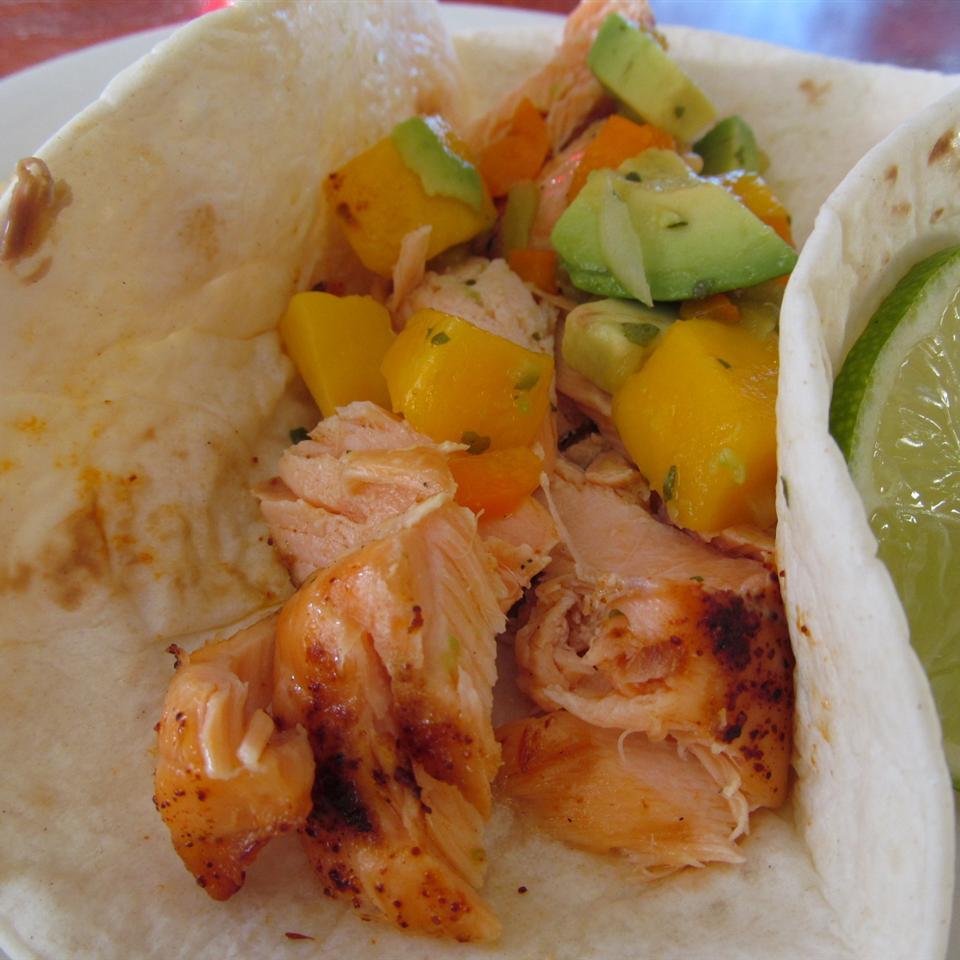 Blackened Salmon Tacos with Chunky Mango Avocado Salsa