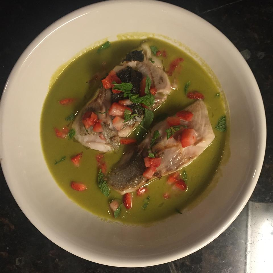Spring Pea Green Curry with Black Cod and Strawberry Michael Kehs