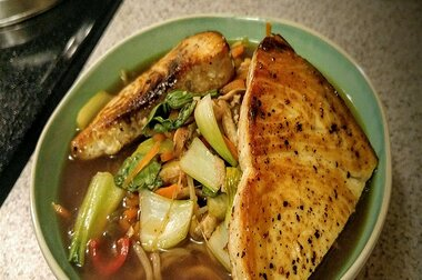 swordfish over ginger hot and sour soba soup recipe