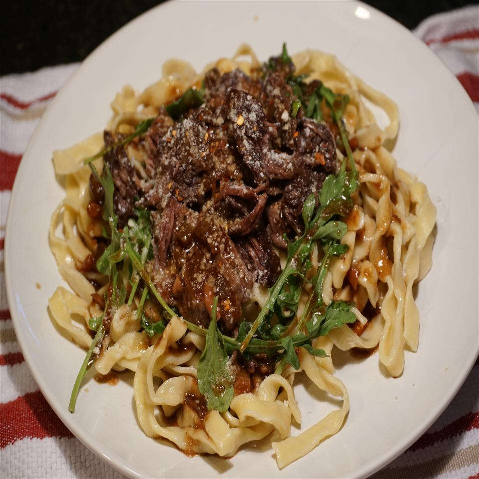 Pasta with Braised Beef and Baby Arugula