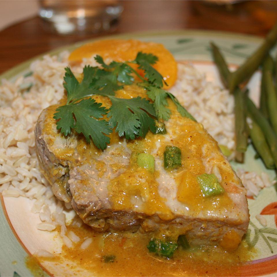 Peach Curry Glazed Pork Chops sjkiddo