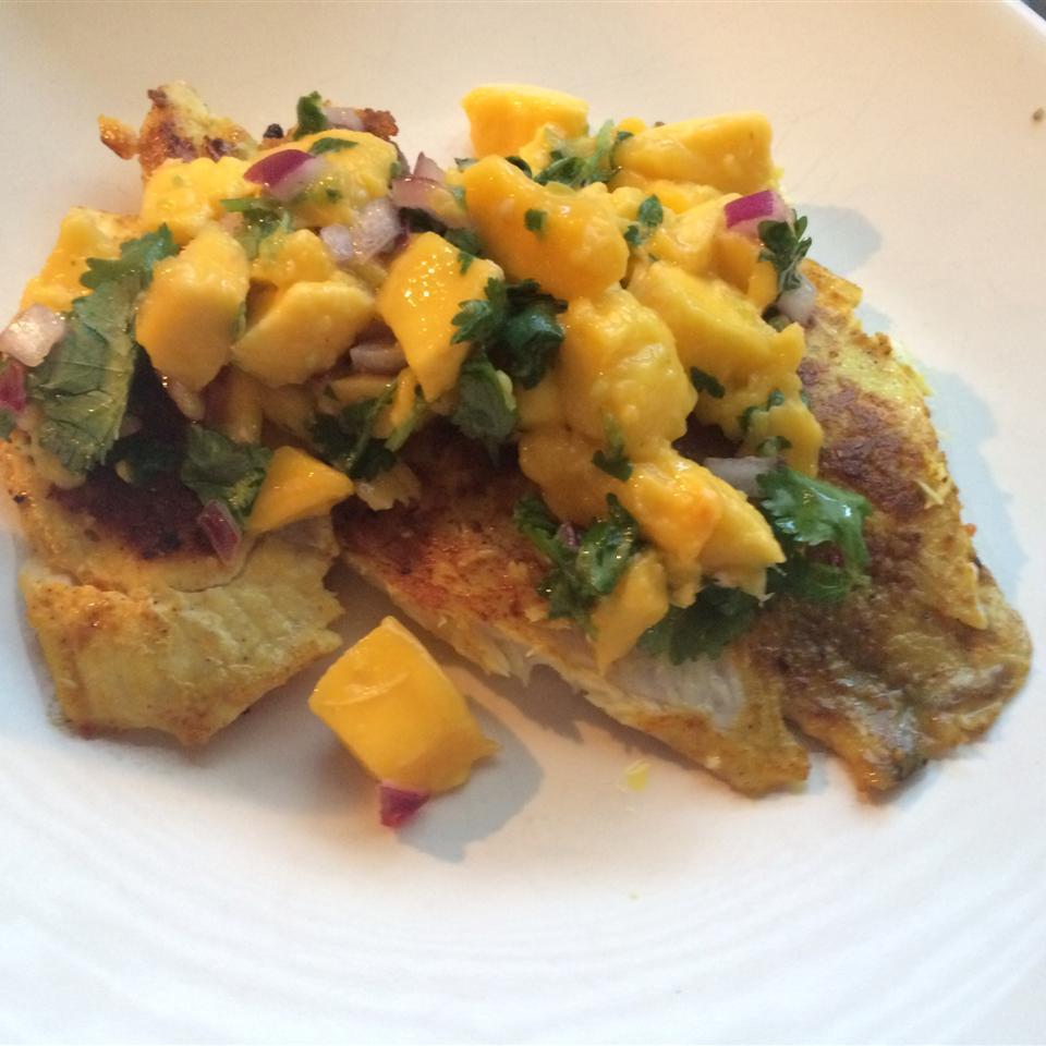 Curried Tilapia with Mango Salsa