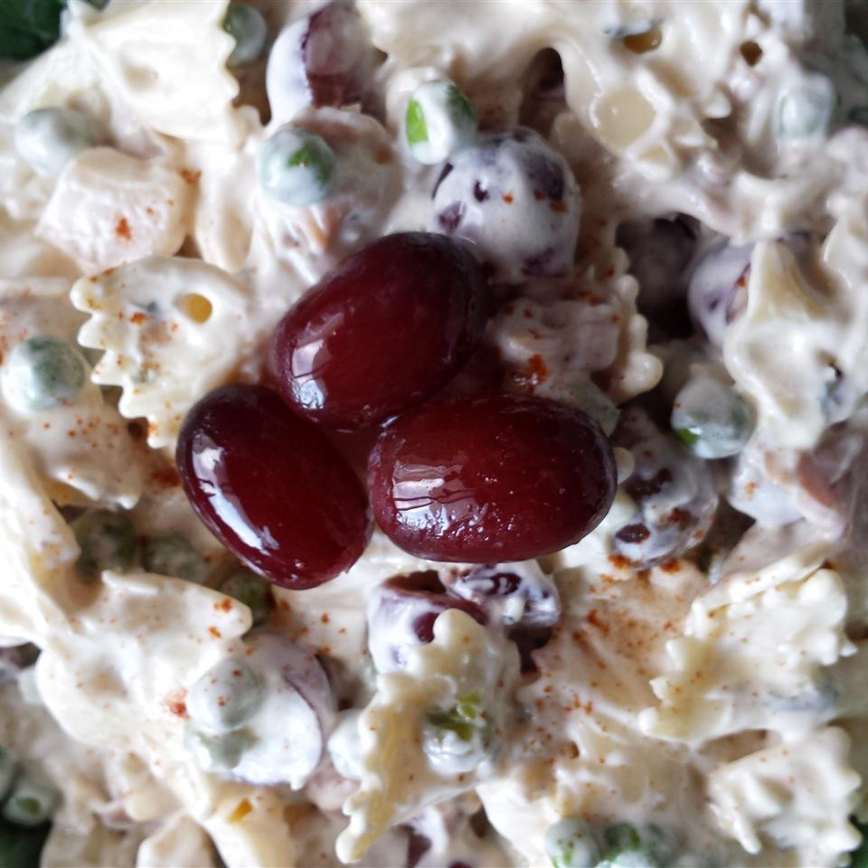Creamy Bow Tie Pasta Salad with Prosciutto, Peas, Grapes, and Dried Cranberries