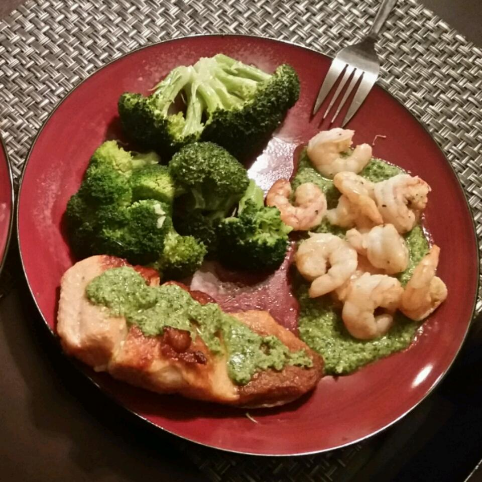 Pan Seared Salmon and Scallops with Macadamia-Cilantro Pesto Ryan Nomura