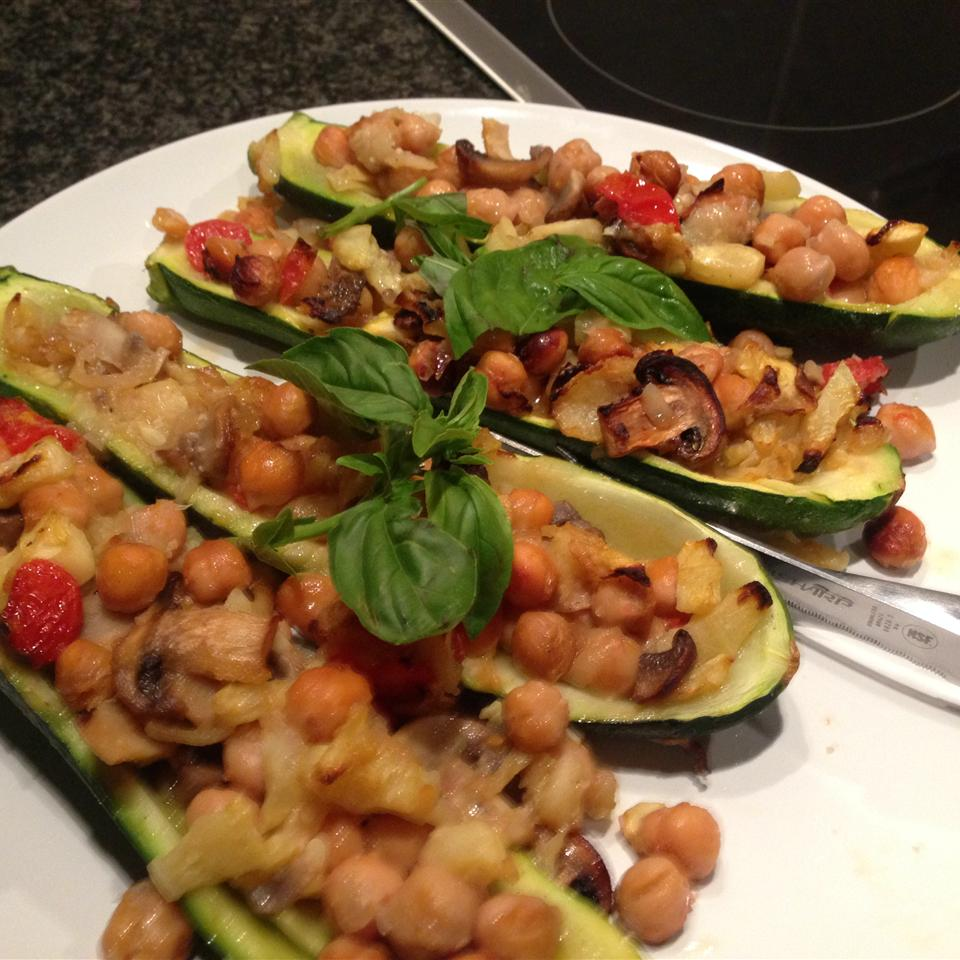 Zucchini with Chickpea and Mushroom Stuffing Jacques Hanekom