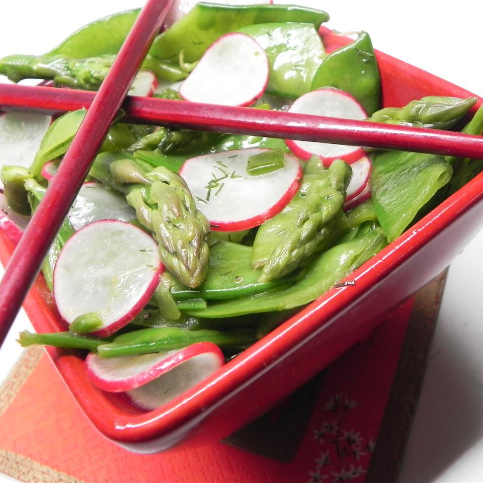 Asparagus, Snow Pea, and Radish Salad