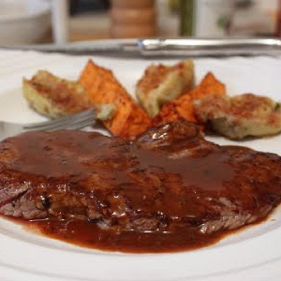 Minute Steaks With Barbeque Butter Sauce Allrecipes