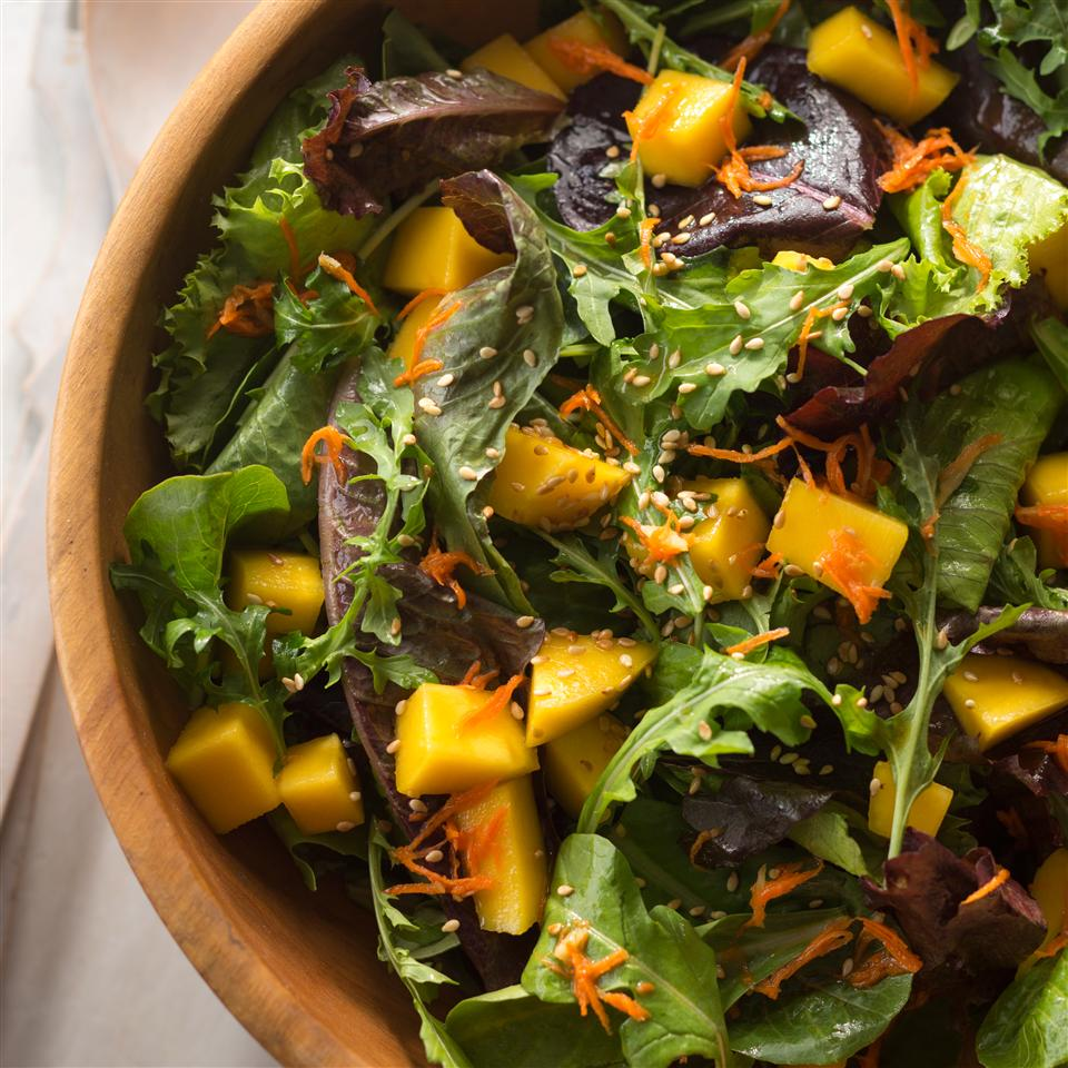 Mesclun and Mango Salad with Ginger Carrot Dressing Allrecipes Magazine