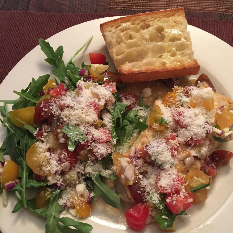 Parmesan Black Cod with Arugula and Tomato Topping