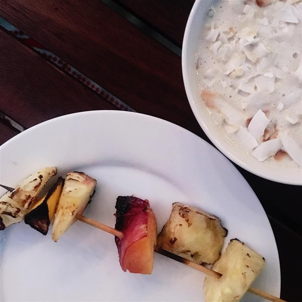 Pineapple and Mango Skewers with Coconut Dip Alli Shircliff
