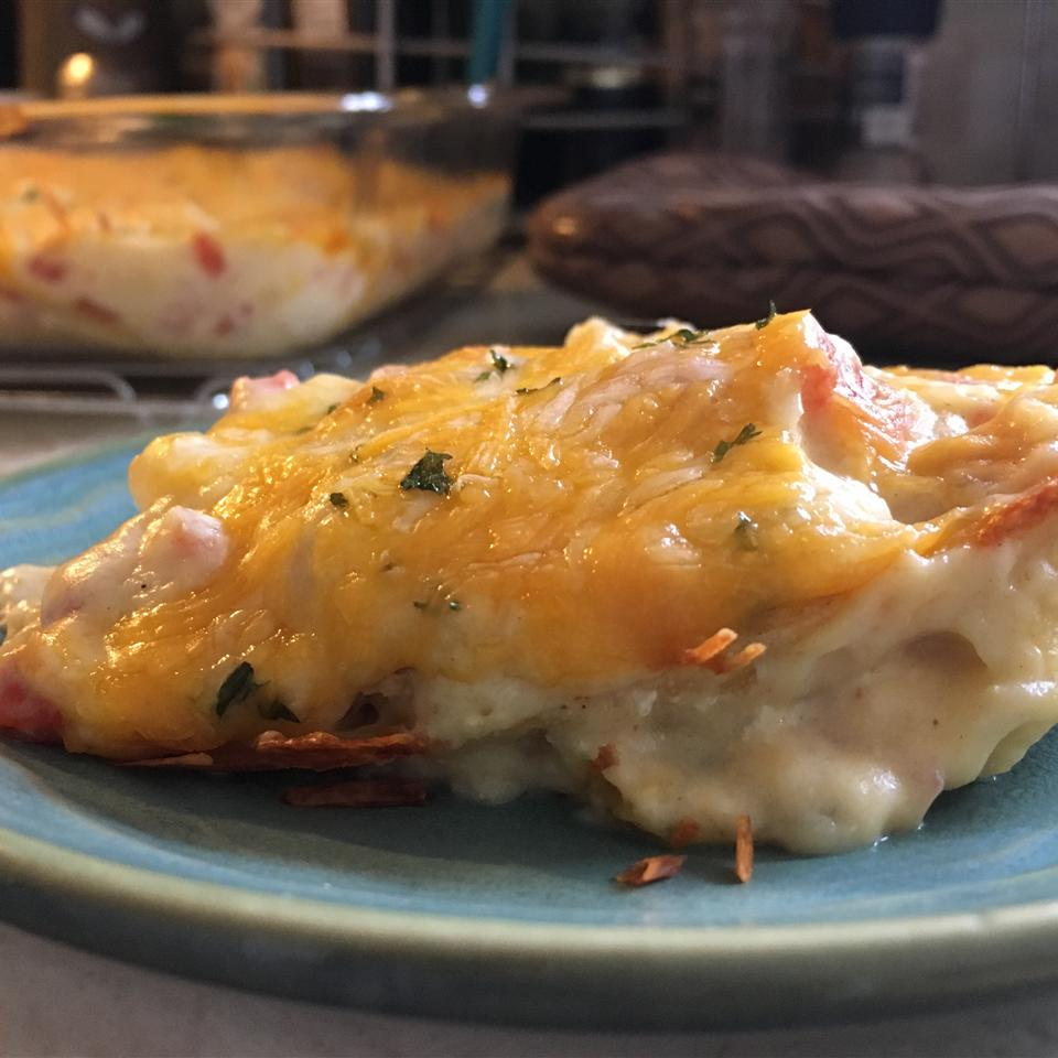 """Here's an easy chicken casserole you can make in your microwave. WisconsinMom opted to bake it instead, saying, """"Only modification I made was I baked at 350 degrees for 40 minutes and that was just to ensure the tortillas were crispy. Easy inexpensive and very tasty."""""""