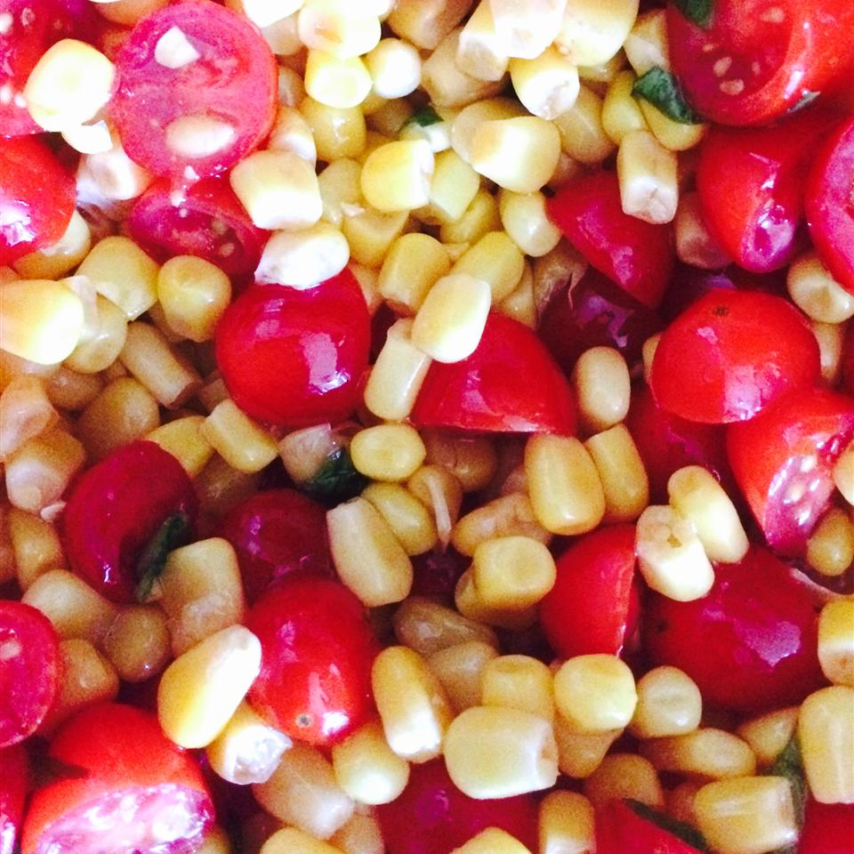 Tomato, Basil, and Corn Salad with Apple Cider Dressing Jody Schoth