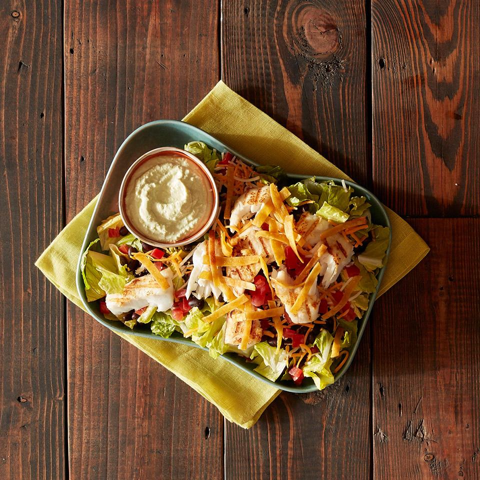 Grilled Fish Taco Salad with Avocado Dressing