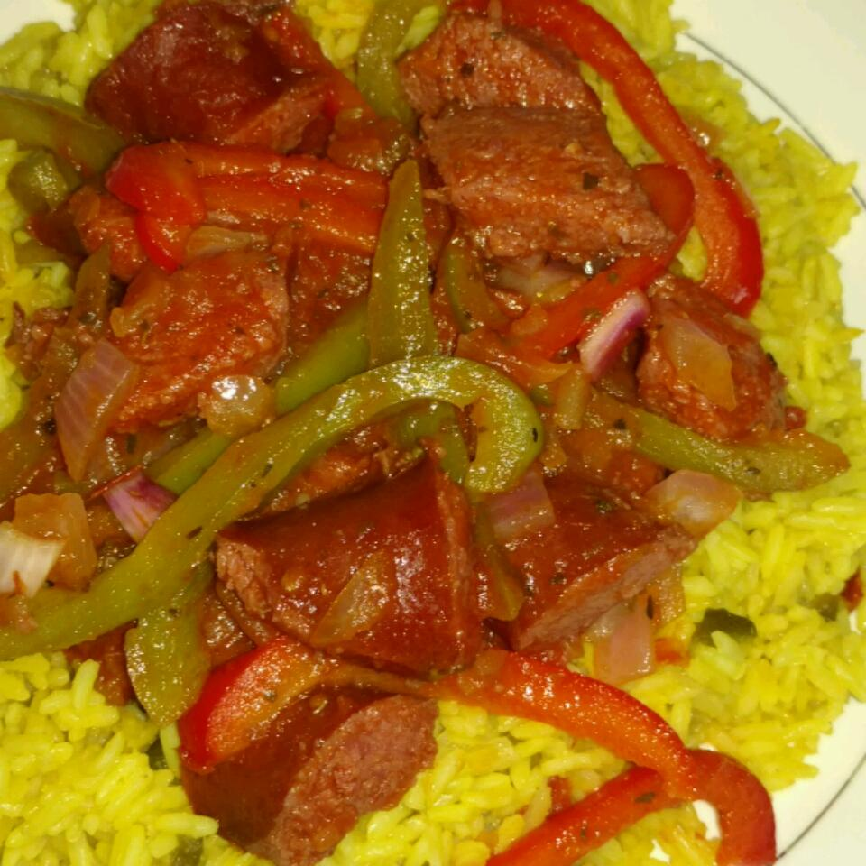 Spicy Yellow Rice and Smoked Sausage abby