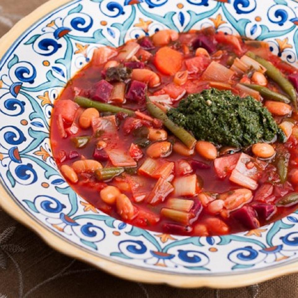 Red Winter Minestrone with Winter Greens Pesto Oxbow Farm