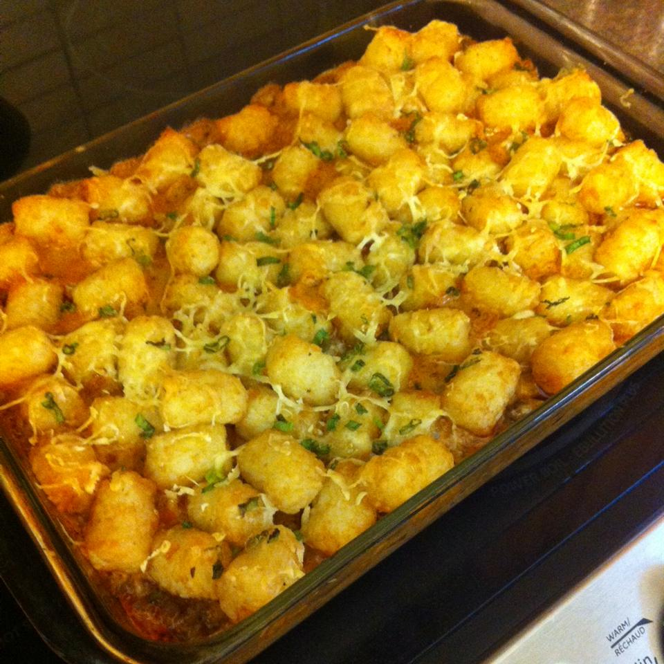 "Seasoned ground beef, salsa, and Tater Tots are topped with jalapenos and Cheddar cheese. Charm says, ""This is an excellent way to use up leftover taco fixings. Very tasty and a nice change from a 'normal' tater tot casserole (though I do like those, too)."""
