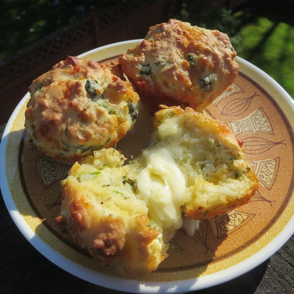 Cheesy Asparagus Caper Muffins