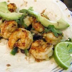 Shrimp Tacos with Avocado Tomatillo Salsa
