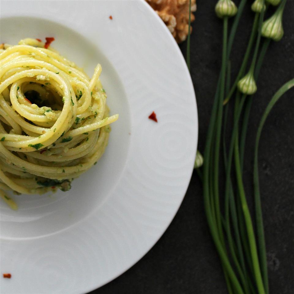 Spinach and Garlic Scape Pesto