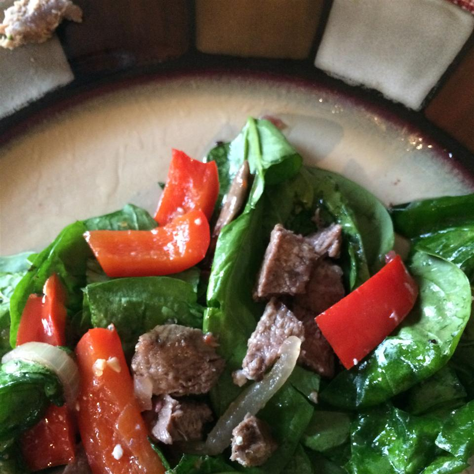 Flat Iron Steak and Spinach Salad Dede