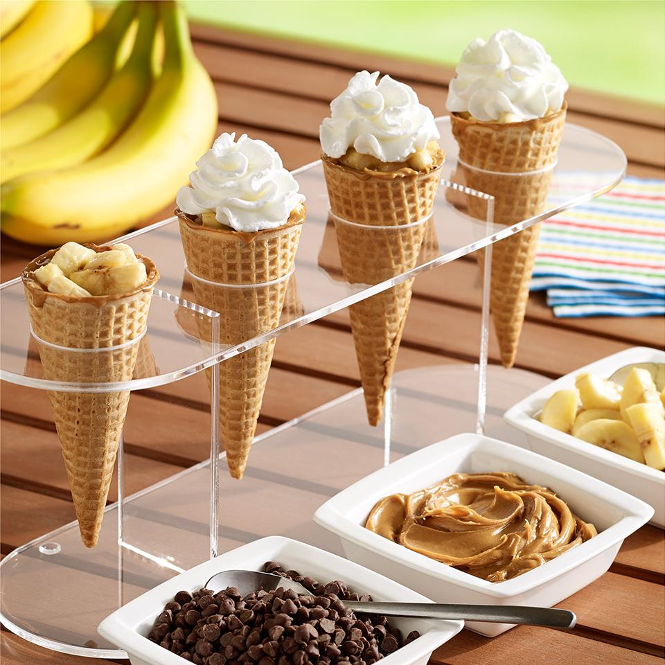 Grilled Peanut Butter, Banana and Chocolate Cones