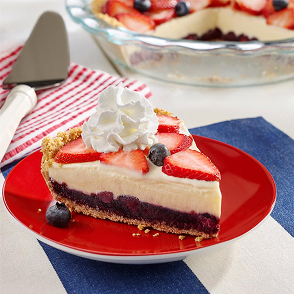 Red, White and Blue Ice Cream Pie