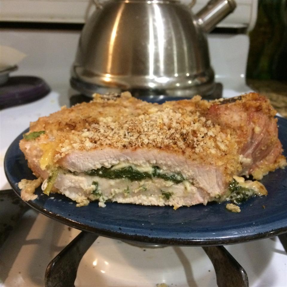 Gouda and Spinach Stuffed Pork Chops