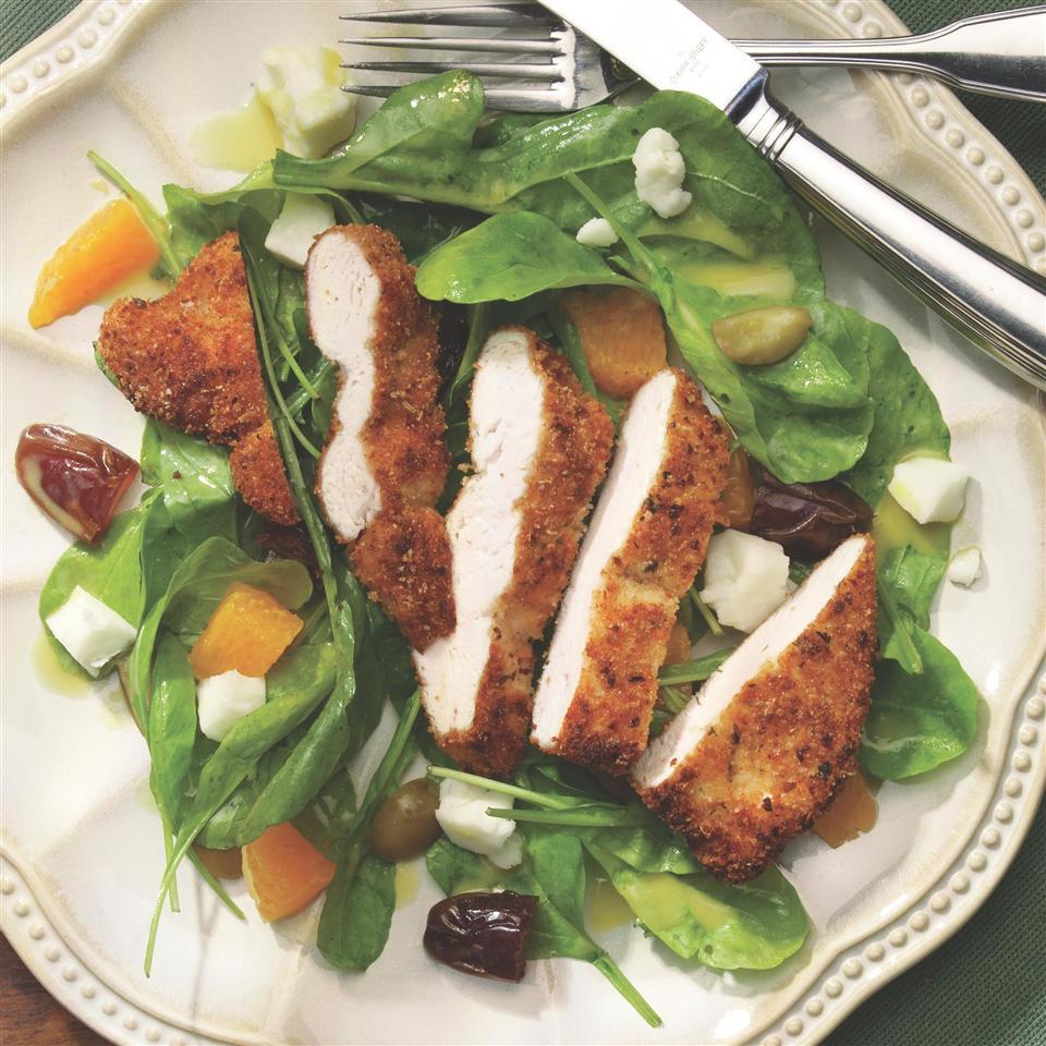 Warm Salad with Chicken Paillards & Chèvre evand