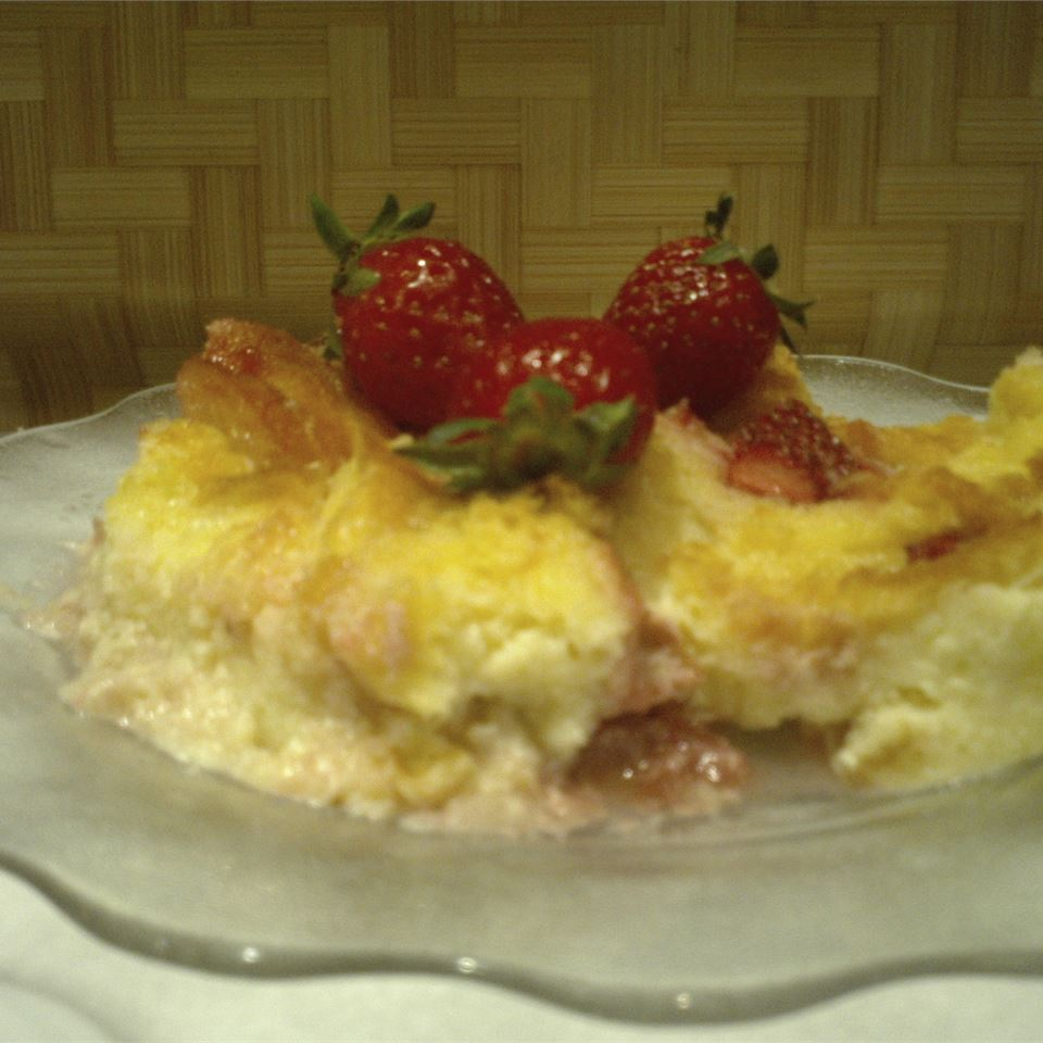 Strawberries and Cream Bread Pudding