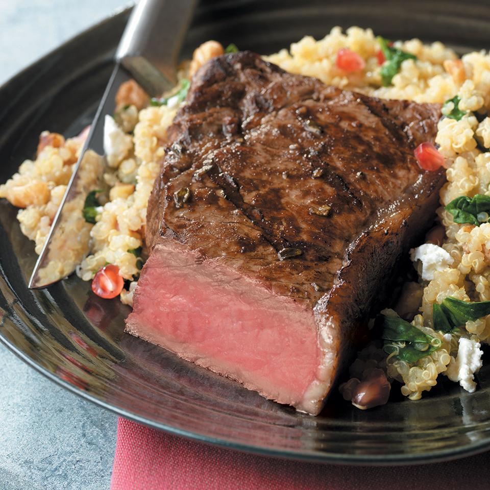 Pomegranate Steak with Quinoa