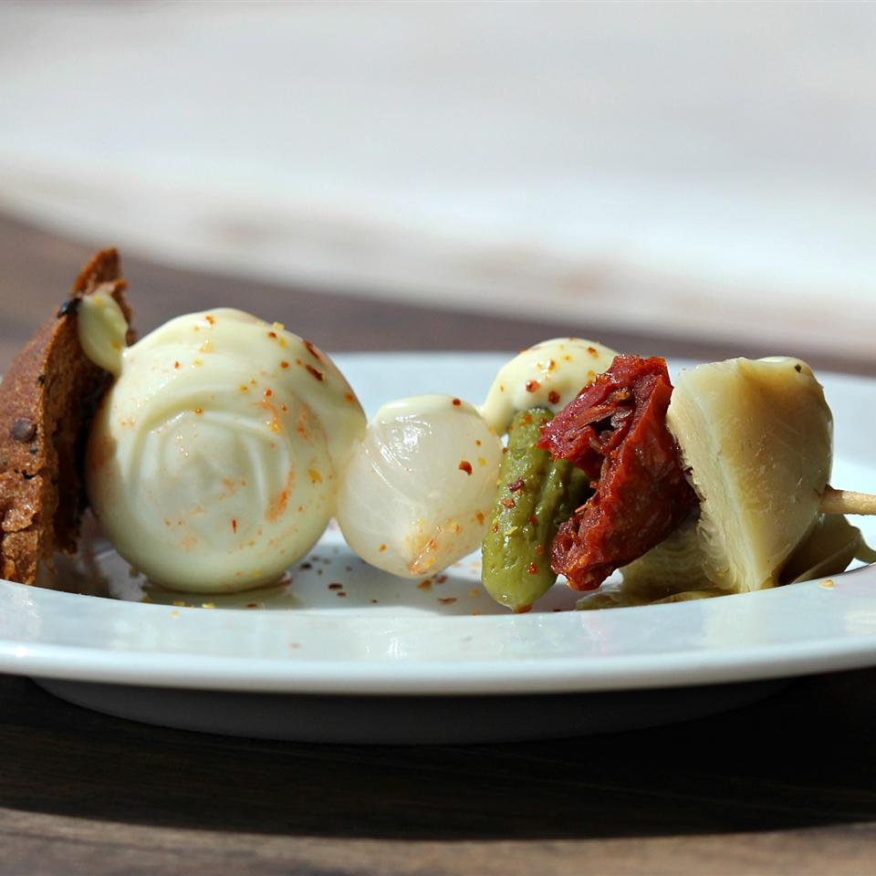(Quail) Egg Salad Sandwiches on a Stick